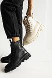 Женские ботинки кожаные весна/осень черные, фото 8