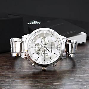 Стильні чоловічі годинники Emporio Armani QQ Silver 1001-0300