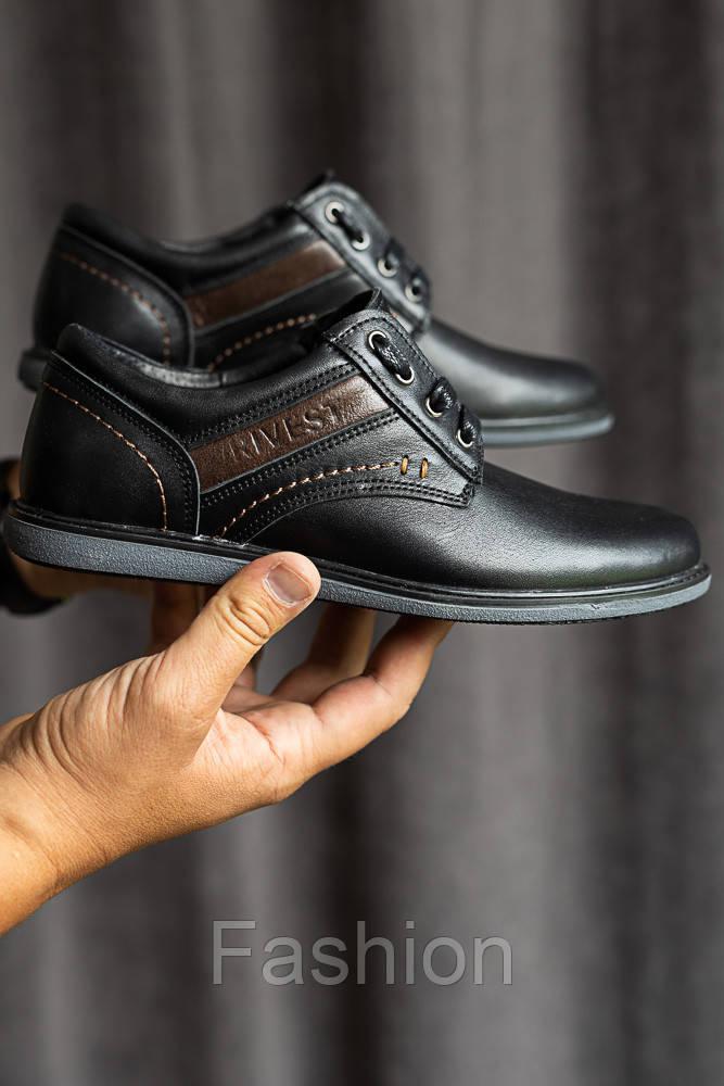 Подростковые туфли кожаные весна/осень черные