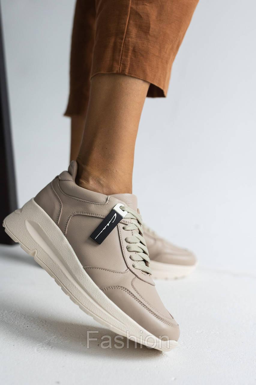 Жіночі кросівки шкіряні весна/осінь бежеві