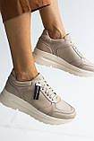 Жіночі кросівки шкіряні весна/осінь бежеві, фото 4
