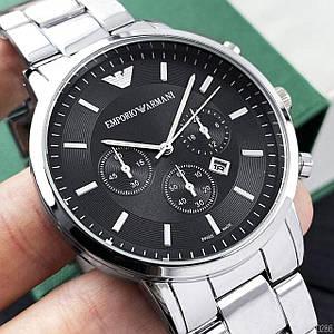Чоловічі наручні годинники Emporio Armani QQ Silver-Black Стильні годинники в сріблястому кольорі 1001-0286