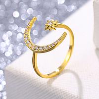 Восточное женское кольцо Луна золото №3