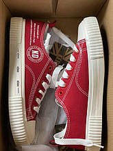 Стильные текстильные кеды красного цвета keddo