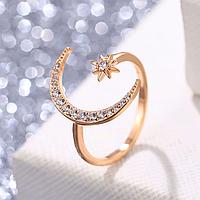 Восточное женское кольцо Луна розовое золото №4