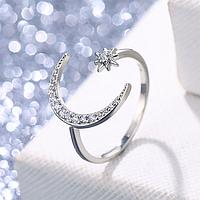 Восточное женское кольцо Луна серебро №5