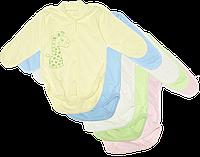Детский боди с длинным рукавом, однотонное, с принтом, тонкий хлопок, ТМ Алекс, размер 56, 62, 68, 74, 86