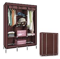 Большой тканевый раскладной шкаф для одежды и обуви, Текстильный складной гардероб Кофе Storage Wardrobe 88130