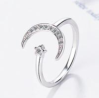 Нежное серебряное кольцо Луна 925 пробы №6