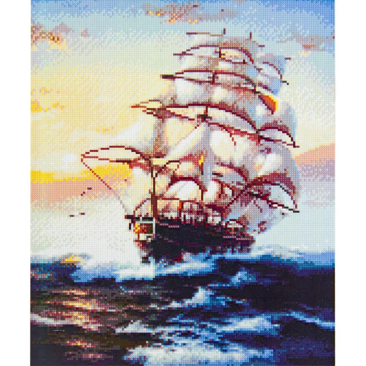 Алмазная вышивка 40x50 см. Величественный морской парусник Strateg в подарочной коробке