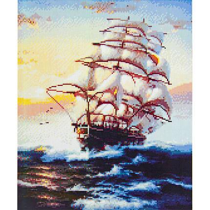 Алмазна вишивка 40x50 див. Величний морський вітрильник Strateg в подарунковій коробці, фото 2