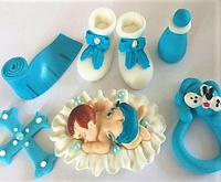 Сахарная фигурка на торт для ребенка набор Малыш №1 Немовля голубой