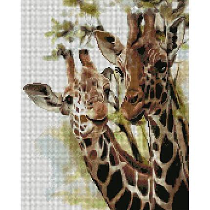 Алмазна вишивка 40x50 див. Друзі жирафи Strateg в подарунковій коробці, фото 2