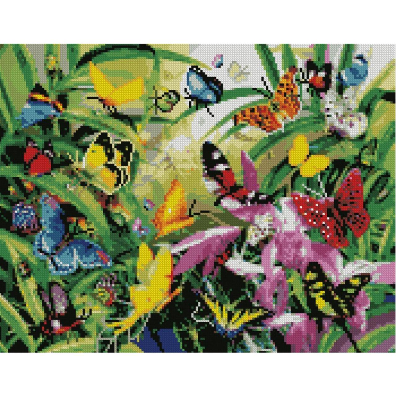 Алмазная вышивка 40x50 см. Бабочки на летний поляне Strateg в подарочной коробке