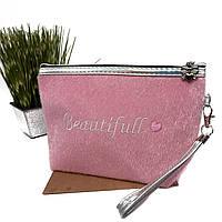 Жіноча Косметичка тканинна рожевий Арт.7063 (Китай)