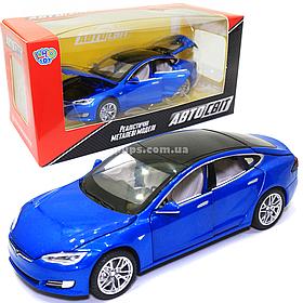 Игрушечная машинка металлическая Tesla «АвтоСвіт» Тесла синий, свет, звук, 15*4*5 см, (AS-2829)