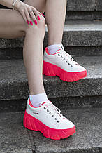 Женские белые кожаные кроссовки на платформе Cosmos