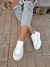 Женские белые кеды Mary на шнуровке комбинированные