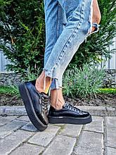 Женские черные кеды Mary на шнуровке комбинированные
