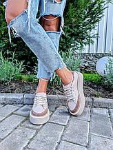 Женские кеды Mary визон на шнуровке комбинированные