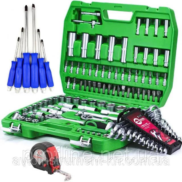Набор инструментов 108 ед. ET-6108SP + набор ключей 12 ед. HT-1203+Набор ударных отверток 6 шт. +РУЛЕТКА 5м