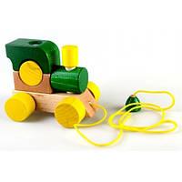 Конструктор из дерева Паровозик со шнурком, зелёный Ду-01 Руди