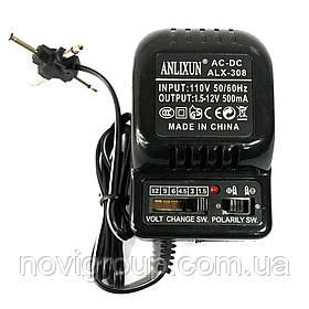 Адаптер живлення ALX-308 з регулюванням 1,5V-12V 0,5A, штекер 5,5*2,1, jack3,5, LED - індикація