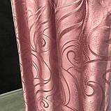 Турецкий комплект жаккардовых штор с ламбрекеном 150х270 см ( 2шт ) Цвет - Розовый, фото 7