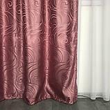 Турецкий комплект жаккардовых штор с ламбрекеном 150х270 см ( 2шт ) Цвет - Розовый, фото 8