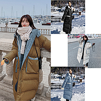 Зимовий жіночий вільний прямий пуховик в стилі оверсайз, фото 1