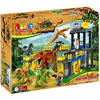 Конструктор JDLT 5243 (6шт) динозавры, здание, фигурки, 135дет, в кор-ке, 60-45-12,5см