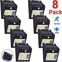 Комплект уличных LED фонарей 8 шт. с датчиком движения на солнечной батарее для дачи Premium YX-628, фото 1