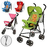 Коляска детская M 2716 прогулочная,львенок,колеса 8шт,4цвета(роз,красн,зелен,голуб)