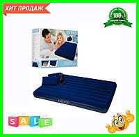 Велюр-матрац синій з насосом і подушками 203-152-22 см 68765