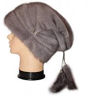"""норковая женская шапка """" Буратино"""" цвет серо голубой"""