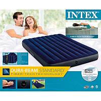 Надувний матрац Intex 64765 Classic Downy Airbed Fiber-Tech, 152х203х25см з подушками і насосом