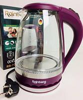 Електричний чайник Rainberg RB-701 скляний дисковий поворот на 360 градусів LED підсвічування 1,8 л, 2200 Вт Ф