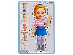 Дерев'яна розвиваюча гра сортер-пазл Анатомія людини дівчинка, Ань-Янь (ПСФ025)