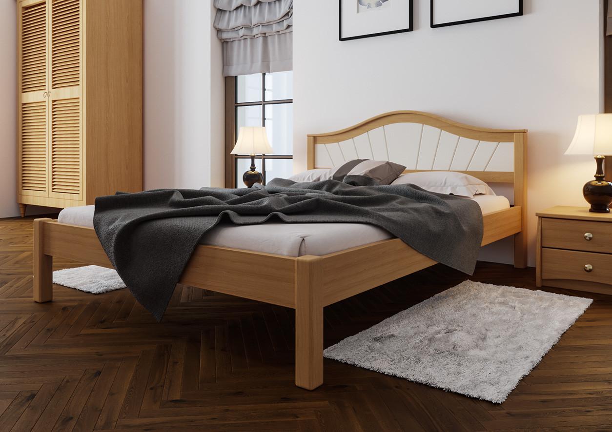 Дерев'яне ліжко Італія з м'яким узголів'ям ЧДК
