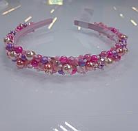 """Обруч для волос """"Нефертити"""" розового цвета. Диадема ручной работы. Розовый ободок на голову"""