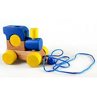 Конструктор из дерева Паровозик со шнурком, синий Ду-01с Руди