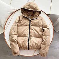 Куртка жіноча коротка, демісезонна з капюшоном на силіконі бежева