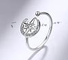 Восточное серебряное кольцо Луна 925 пробы №7