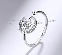 Восточное серебряное кольцо Луна 925 пробы №7, фото 1