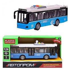 Детская игрушка автобус с открывающимися дверями, свет, звук, Автпром (синий)
