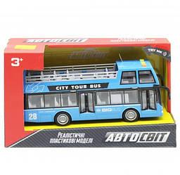 """Дитяча іграшка автобус """"Автосвіт"""", блакитний AS-2627, Іграшковий двоповерховий автобус"""