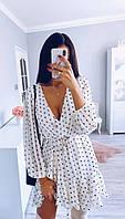 Нежное платье в горошек с ремешком