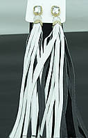 Модные длинные серьги с кисточкой-бахромой  бело-черная