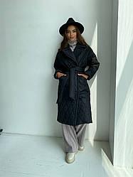 Трендові жіноче пальто Хаскі з стьобаною плащової тканини 11697