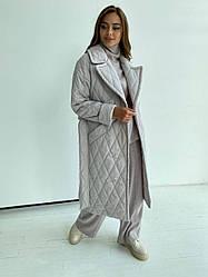 Якісне жіноча демі пальто Хаскі з стьобаною плащової тканини 11697